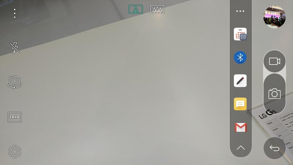 Aplikacja aparatu w LG G5 - po prawej pasek szybkich akcji na wykonanym zdjęciu - 90sekund.pl