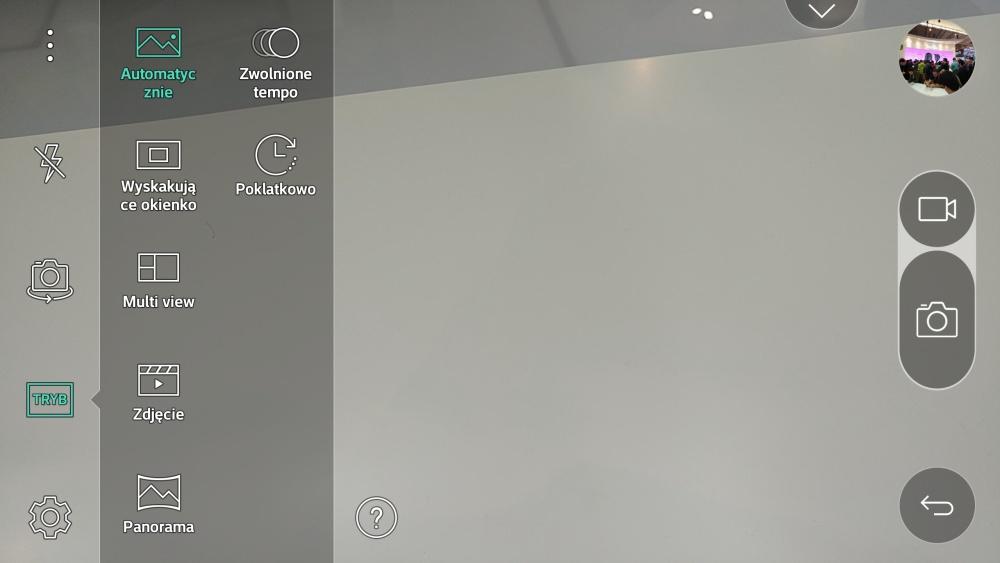 Aplikacja aparatu w LG G5 - wybór trybu zdjęcia - 90sekund.pl