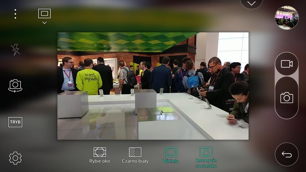 Aplikacja aparatu w LG G5 - opcja Pop-Out Picture z winietą i rozmyciem soczewkowym - 90sekund.pl