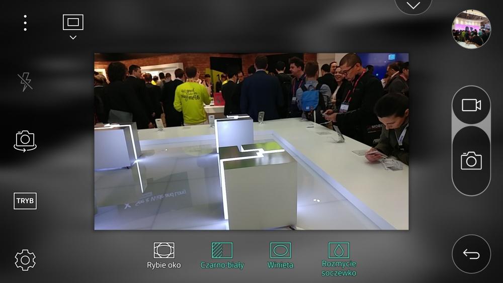 Aplikacja aparatu w LG G5 - opcja Pop-Out Picture z winietą, rozmyciem soczewkowym oraz czarno-białym tłem - 90sekund.pl