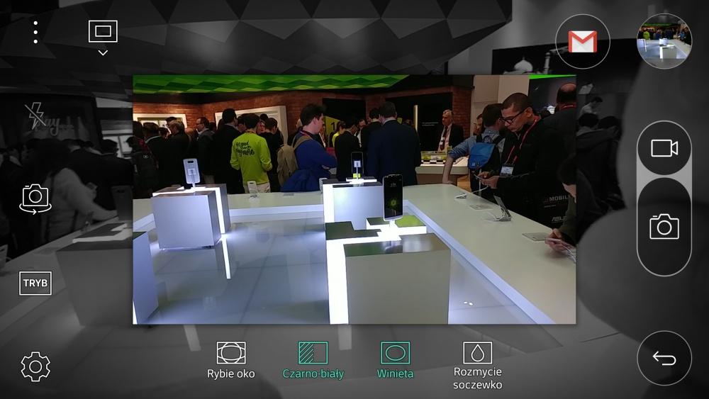 Aplikacja aparatu w LG G5 - opcja Pop-Out Picture z barno-białym tłem oraz winietą - 90sekund.pl