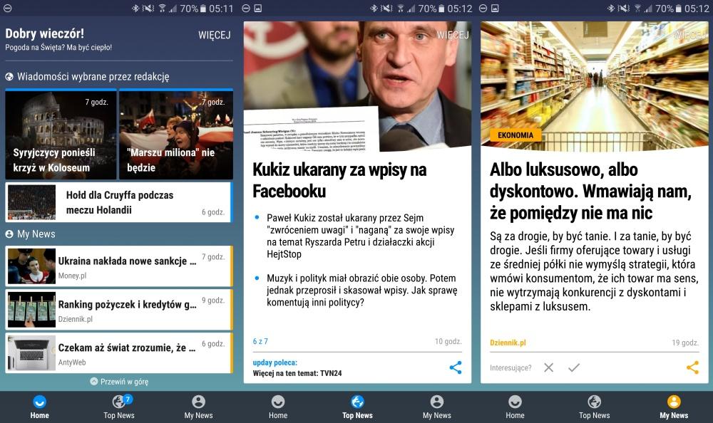 Upday Samsunga to newsfeed z prawdziwego zdarzenia i dla Polaków! - Samsung Galaxy S7 SM-G930 - recenzja 90sekund.pl