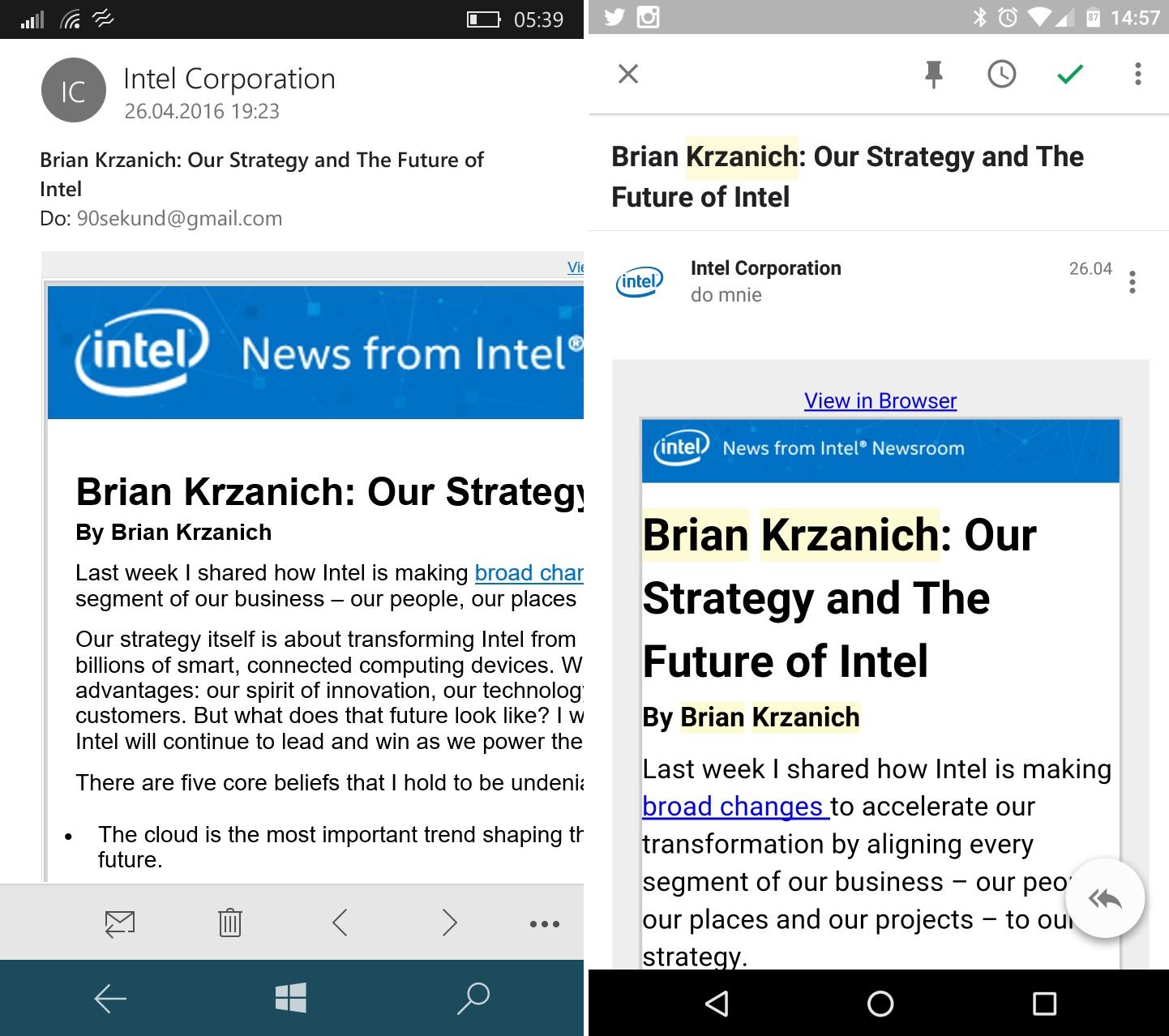 Po lewej wiadomość w Microsoft Outlooku dla Windows 10 Mobile w Lumii 650. Po prawej w Google Inbox by Gmail - nie mam złudzeń z czyim rozwiązaniem wolę pracować - 90sekund.pl