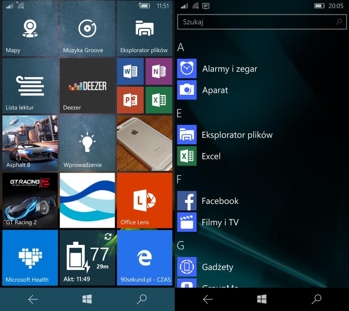 Wygląd ekranu głównego w Windows 10 Mobile oraz wysuwanego z prawej krawędzi ekranu menu z aplikacjami - recenzja Lumii 650 - 90sekund.pl
