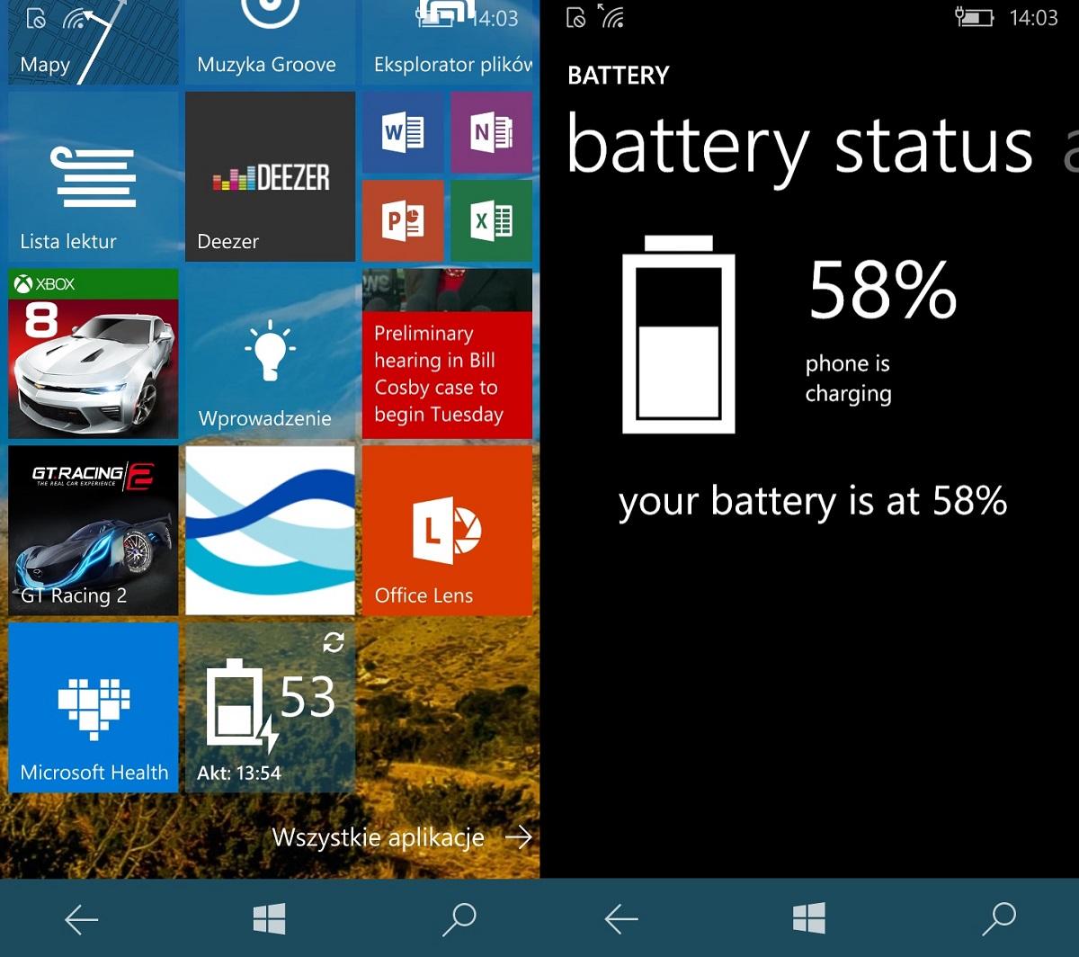 Na obrazku po lewej, kafelek pokazuje poziom naładowania wynoszący 53 proc. Obrazek po prawej to stan po otwarciu aplikacji do statusu baterii, a tam... niespodzianka - jednak naładowane w 58 proc! - 90sekund.pl