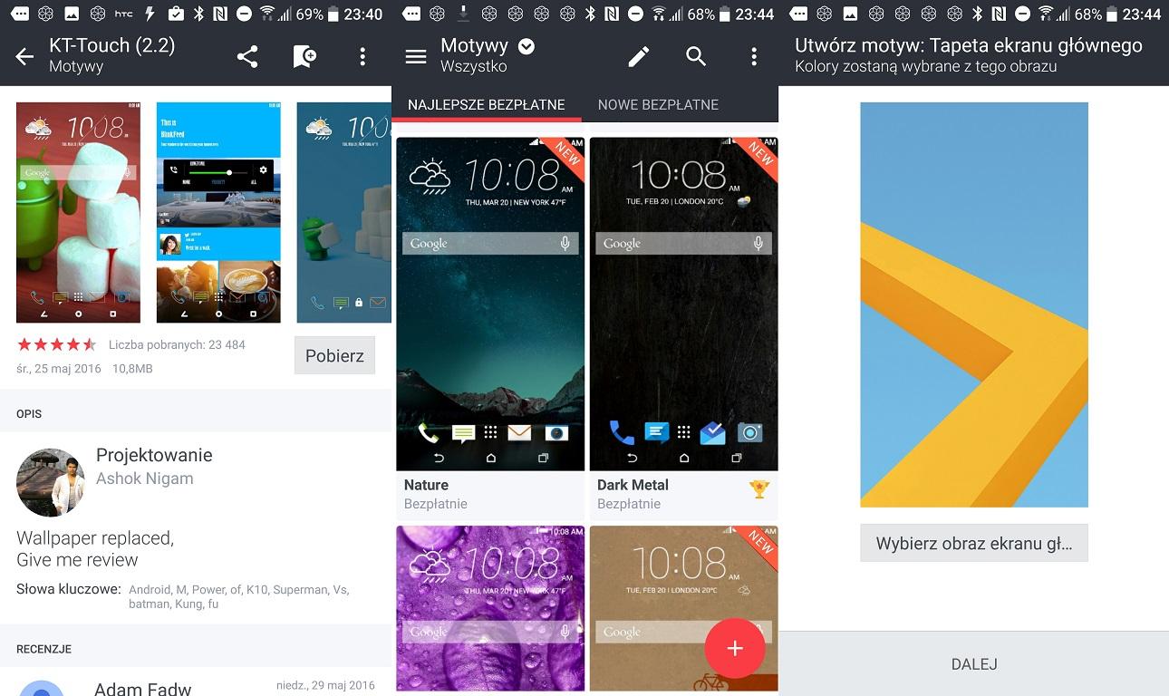 Opcje konfiguracyjne i motywy w HTC 10 - recenzja 90sekund.pl
