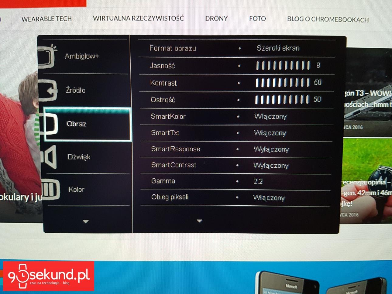 Menu ręcznej obsługi monitora Philips Moda 275C z podstawą świetlną Ambiglow Plus - recenzja 90sekund.pl