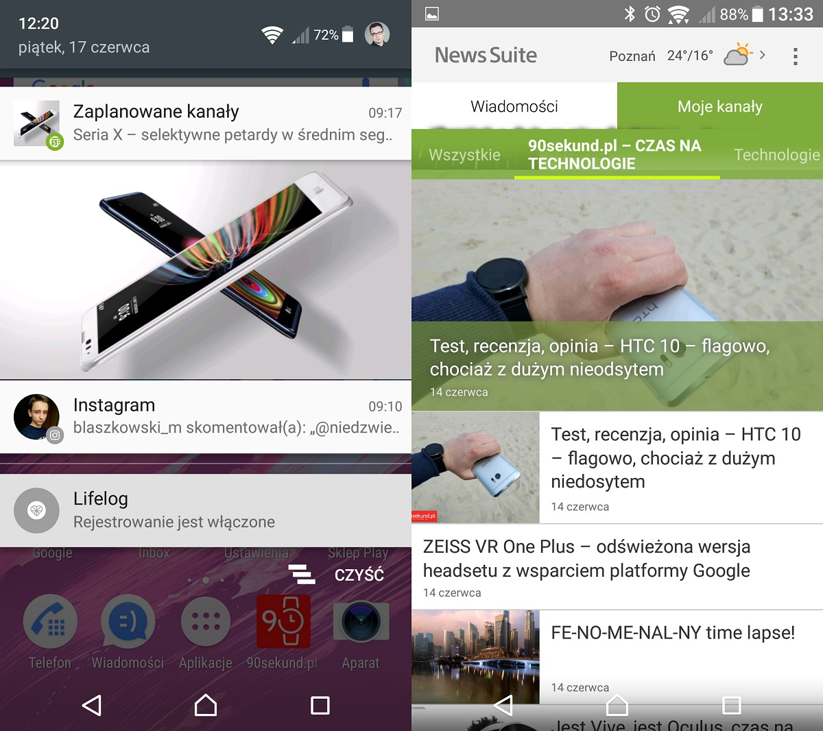 Sony Xperia X (F5121) - agregator newsów od Sony: NewsSuite - recenzja 90sekund.pl