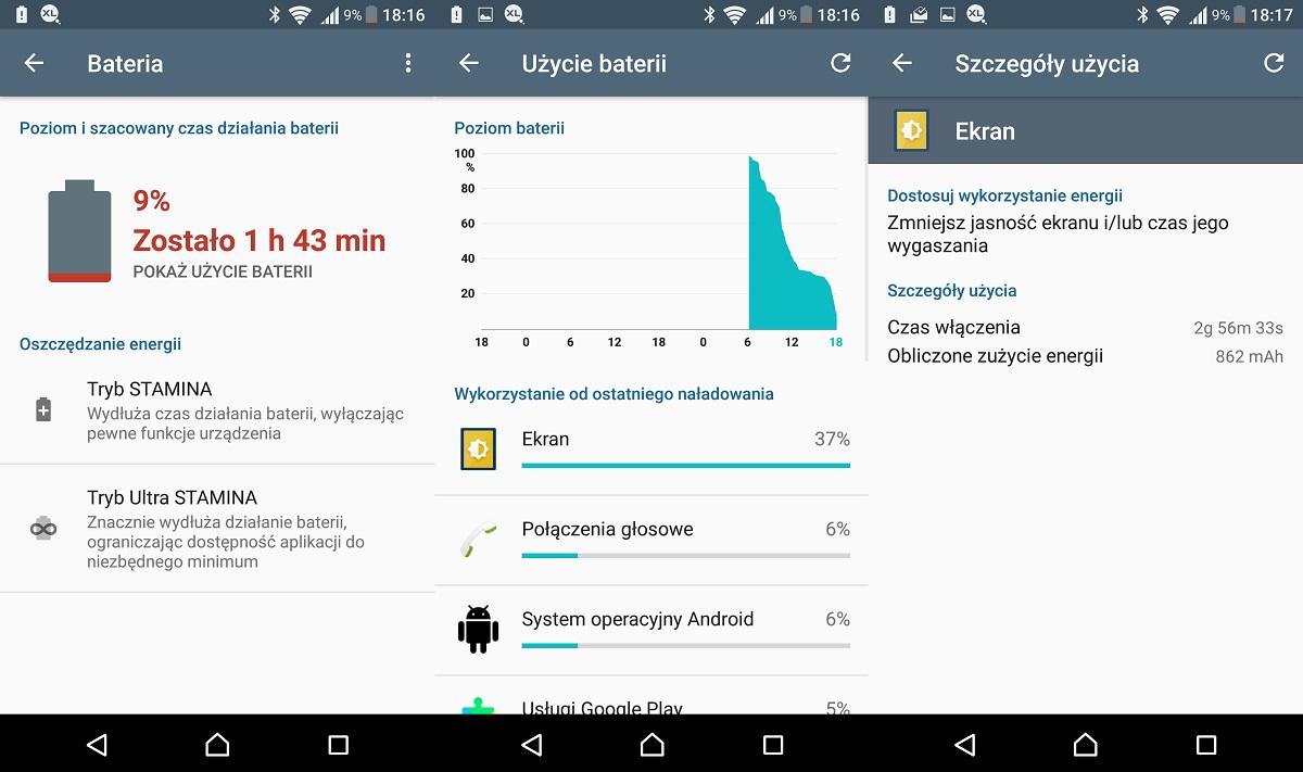 Sony Xperia X (F5121) - przykładowe użycie baterii - recenzja 90sekund.pl