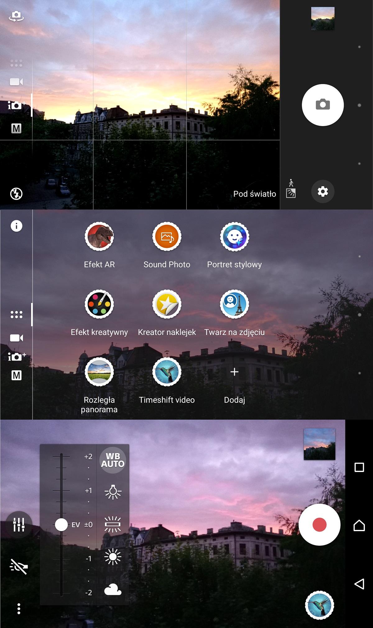 Sony Xperia X (F5121) - wygląd aplikacji Aparatu - recenzja 90sekund.pl