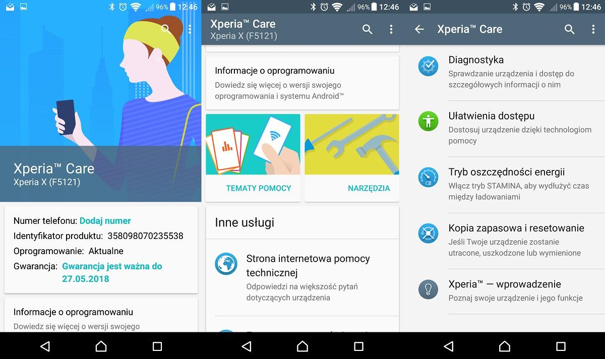Sony Xperia X (F5121) - Pomoc, czyli Xperia Care - recenzja 90sekund.pl