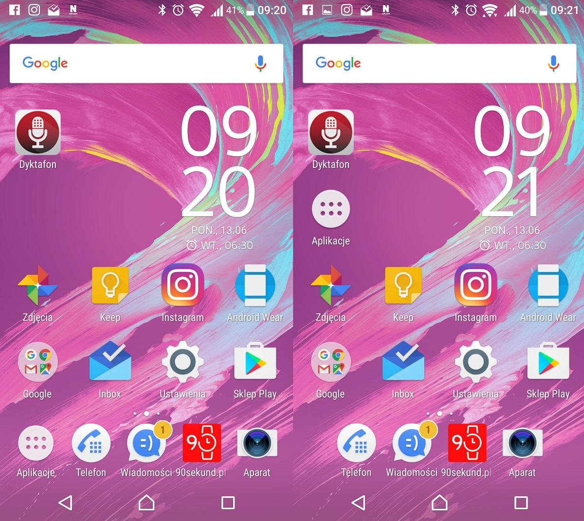 Sony Xperia X (F5121) - zmiana położenia przycisku menu Aplikacji jest bardzo dowolna - recenzja 90sekund.pl