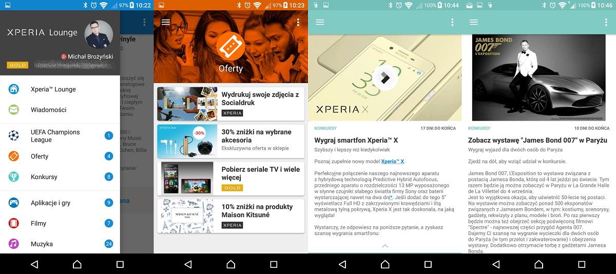 Sony Xperia X (F5121) - Xperia Lounge, czyli tym honoruje Cię Sony po zakupie modelu X - recenzja 90sekund.pl