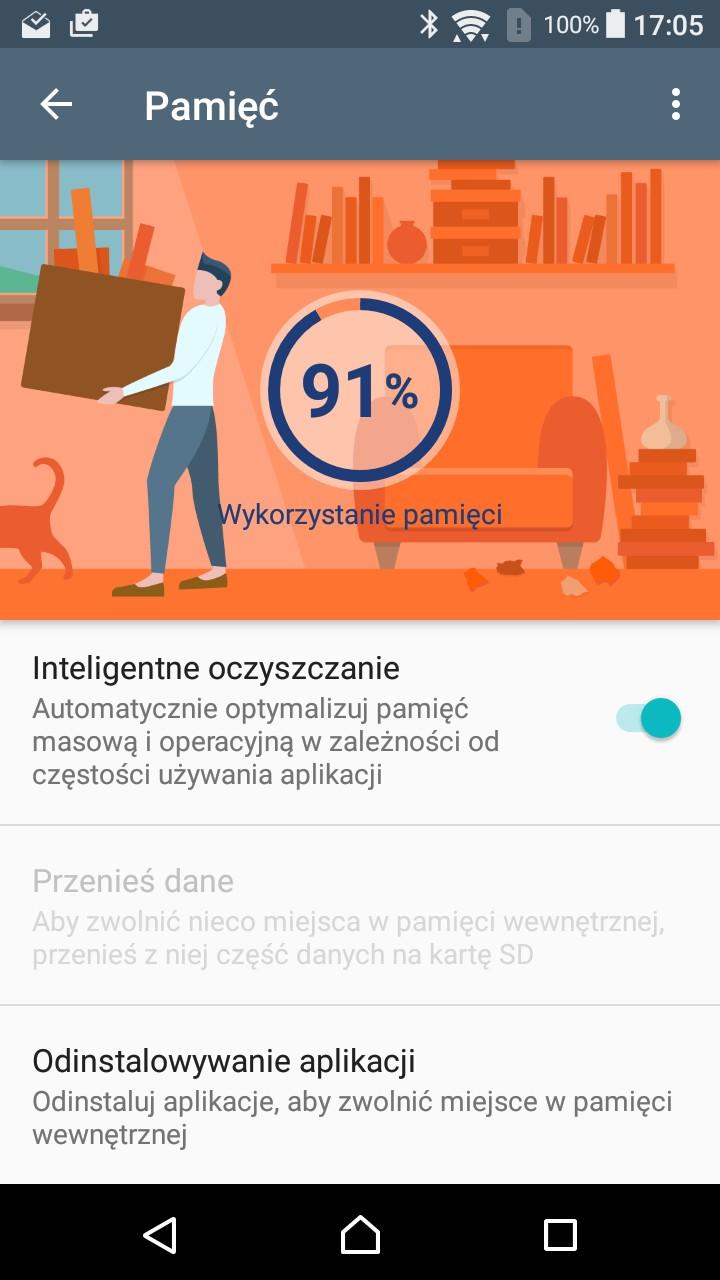 Inteligentne Oczyszczanie w Sony Xperii XA - recenzja 90sekund.pl