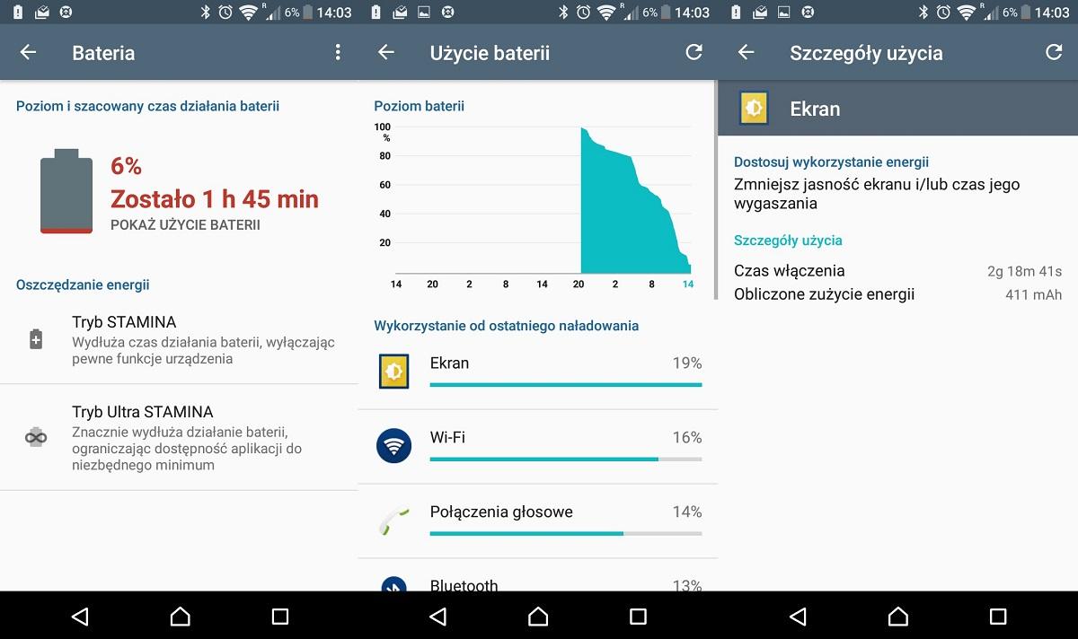 Przykładowy czas pracy na jednym ładowaniu Sony Xperii XA - recenzja 90sekund.pl