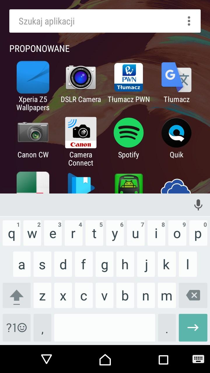 Sony Xperia XA (F3111) - menu Proponowane - recenzja 90sekund.pl
