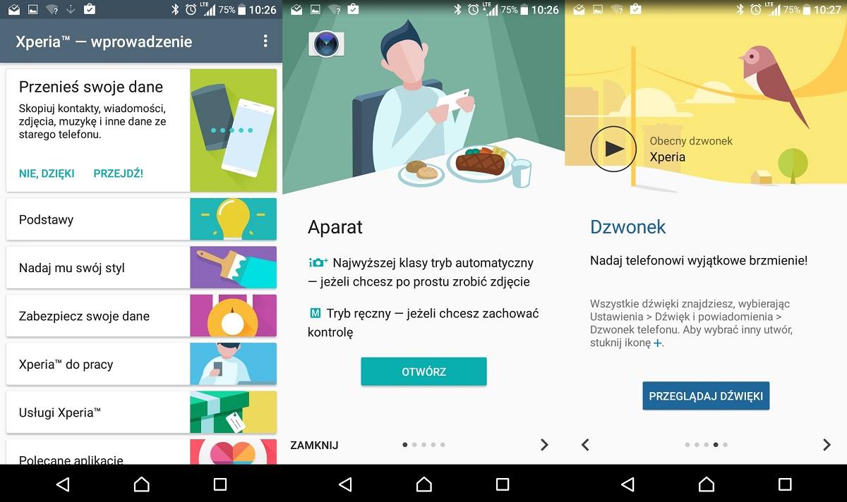 Sony Xperia XA (F3111) - aplikacja Wprowadzenie - recenzja 90sekund.pl