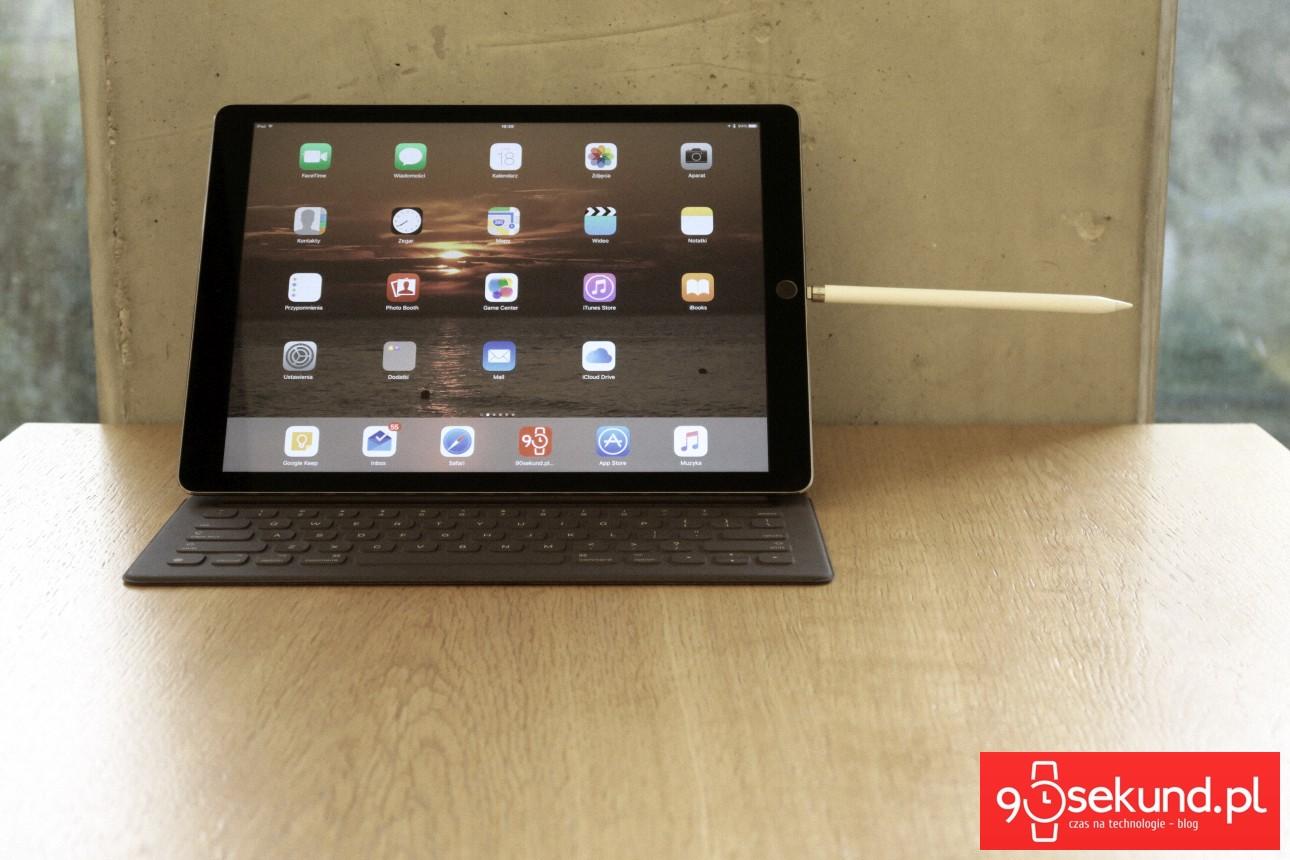 Apple iPad Pro 12,9 (2015) i zadokowany w złączu Lightning Apple Pencil - recenzja 90sekund.pl