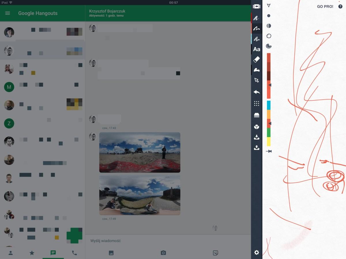 Z lewej Google Hangouts, a z prawej Concepts (apka do szkicowania etc.) - Gdybym chciał przerysować wysłane mi w konwersacji zdjęcie, korzystając z podziału na dwa okna, to tutaj nie miałbym szans... - 90sekund.pl