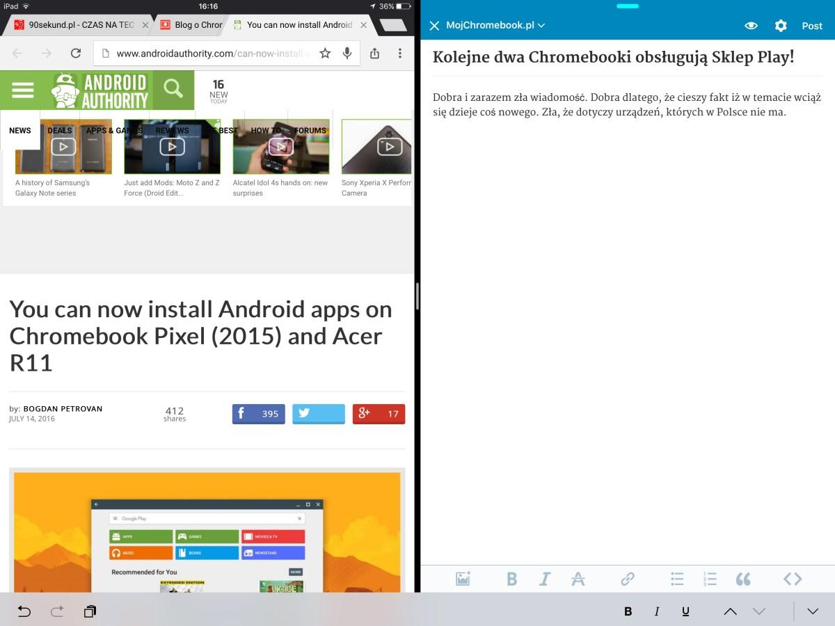 Split View w iOS 9 na Apple iPadzie Pro 12,9 (2015) pozwala dzielić ekran pomiędzy dwie aplikacje. Pisane tekstów i czerpanie ze źródeł jest wtedy bardzo wygodne - 90sekund.pl