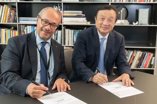 Dr. Andreas Kaufmann Przewodniczący Rady Nadzorczej Leica oraz Ren Zhengfei CEO Huawei - fot. mat. pras.