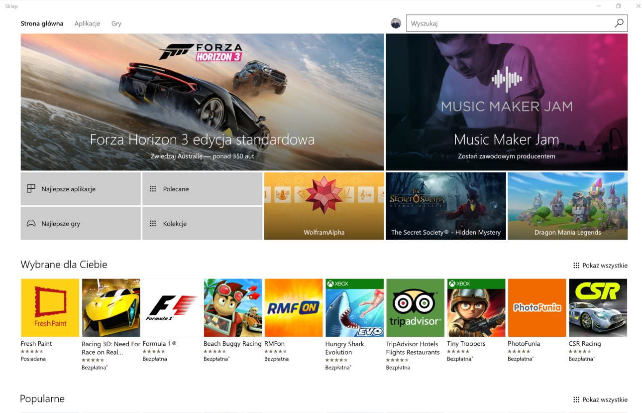 Sklep Microsoftu z aplikacjami na Surface Booku - recenzja 90sekund.pl