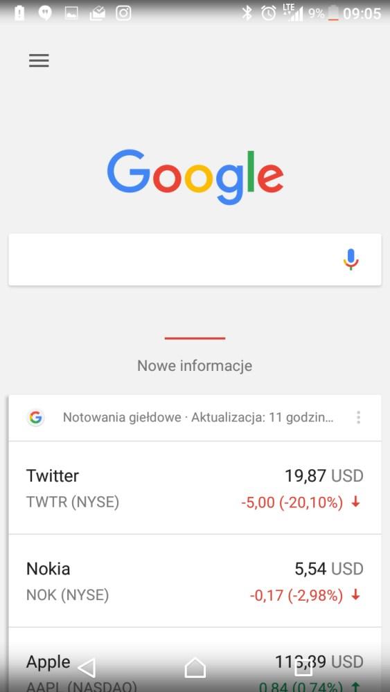 Google Now po lewej stronie Ekranu głównego w Sony Xperia X Compact F5321 - recenzja 90sekund.pl