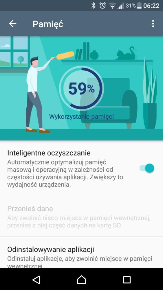 Smart Cleaner w Sony Xperia X Compact F5321 - recenzja 90sekund.pl