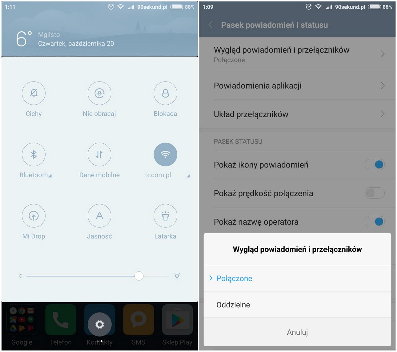 Xiaomi Mi5 - Pasek powiadomień - recenzja 90sekund.pl