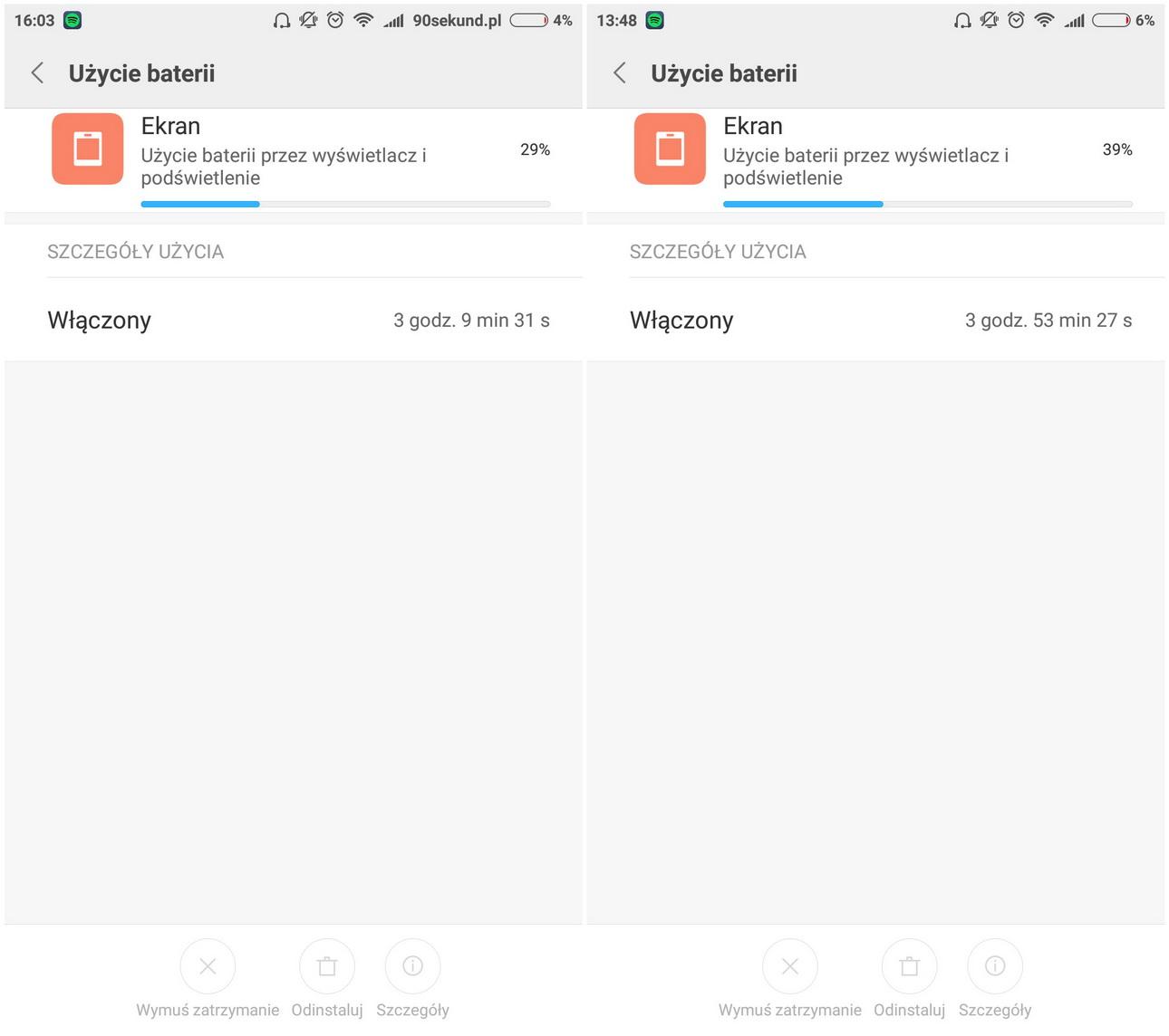 Xiaomi Mi5 - Przykładowe zużycie baterii - recenzja 90sekund.pl