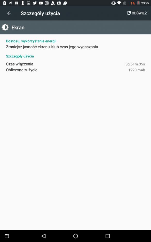 Statystyki użycia baterii w Lenovo Tab3 8 LTE - 90sekund.pl
