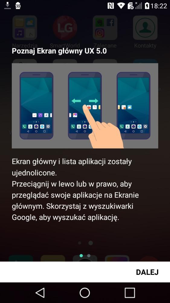 Wygląd i ustawienia ekranu głównego w UX 5.0 w LG X Power - 90sekund.pl