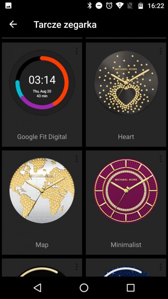 Aplikacja Android Wear na smartfonie i podgląd licznych tarcz, gł. od Michael Kors Access - recenzja 90sekund.pl