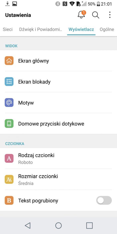 System Android i menu Ustawień w LG G6 - 90sekund.pl