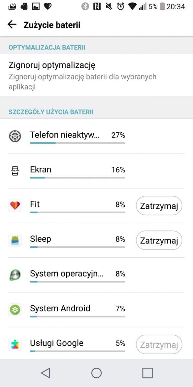 Przykładowy czas pracy na jednym ładowaniu LG G6 - 90sekund.pl