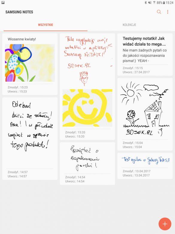 Aplikacja Samsung Notatki w tablecie Galaxy Tab S3 - 90sekund.pl