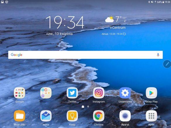 Pulpit główny w Samsungu Galaxy Tab S3 - 90sekund.pl