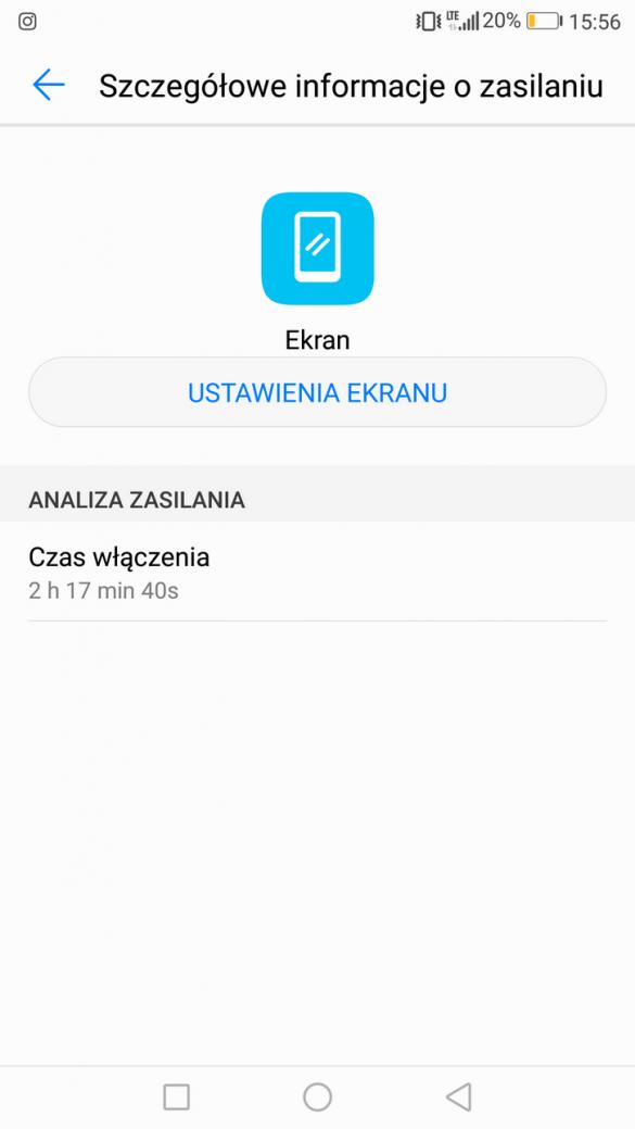Huawei P10 - Przykładowe zużycie baterii -  recenzja 90sekund.pl