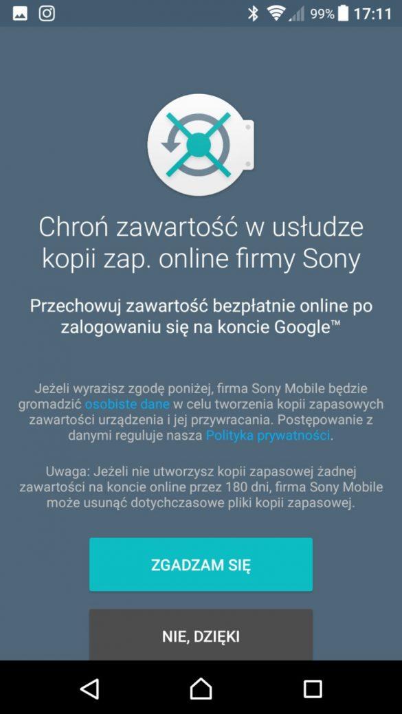 Sony Xperia XZ Premium - kopia zapasowa - recenzja 90sekund.pl