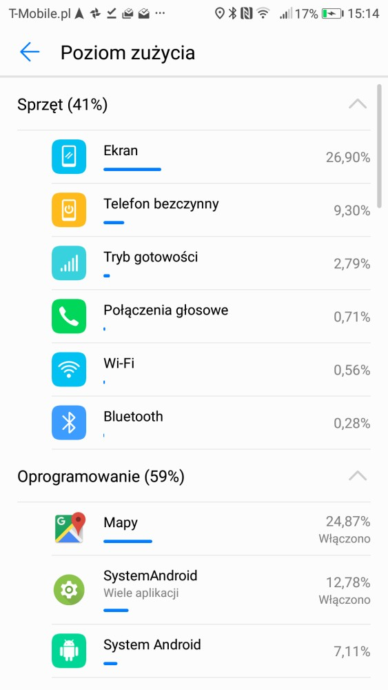 Przykładowy czas pracy na baterii oraz sekcja do zarządzania ogniwem - recenzja Honor 9 na 90sekund.pl
