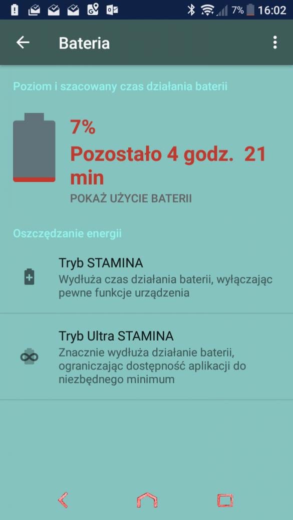 Przykładowy czas pracy na jednym ładowaniu baterii w Sony Xperii XA1 - recenzja 90sekund.pl