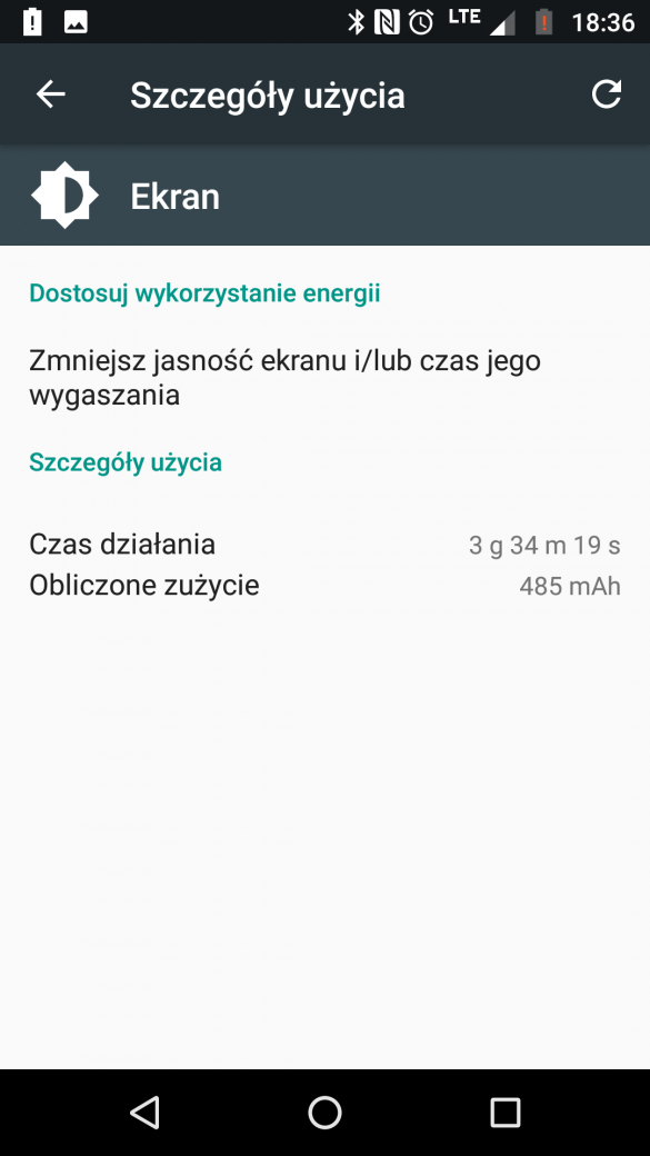 Przykładowy czas pracy baterii w Lenovo Moto Z2 Play (XT1710-09) - 90sekund.pl