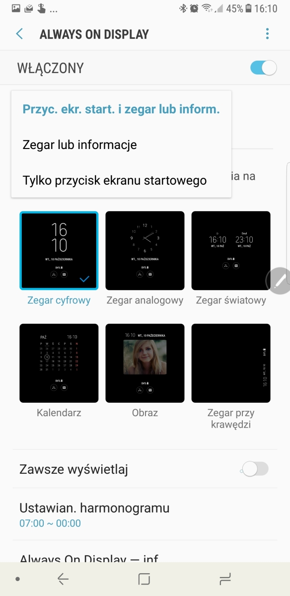 Ustawienia ekranu Always-On-Display w Galaxy Note8 - recenzja 90sekund.pl