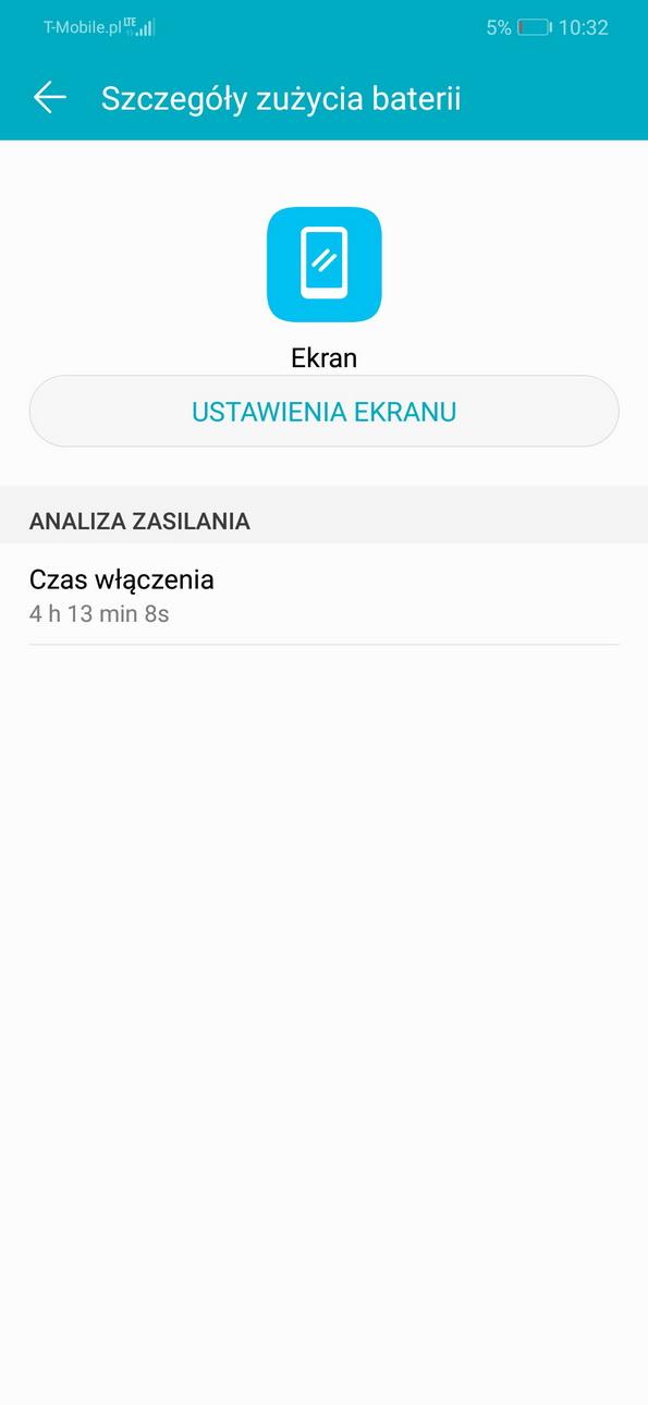Przykładowe zużycie baterii - Honor Play - recenzja 90sekund.pl
