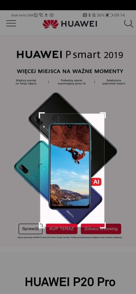 Działanie HiVision w Huawei P smart 2019